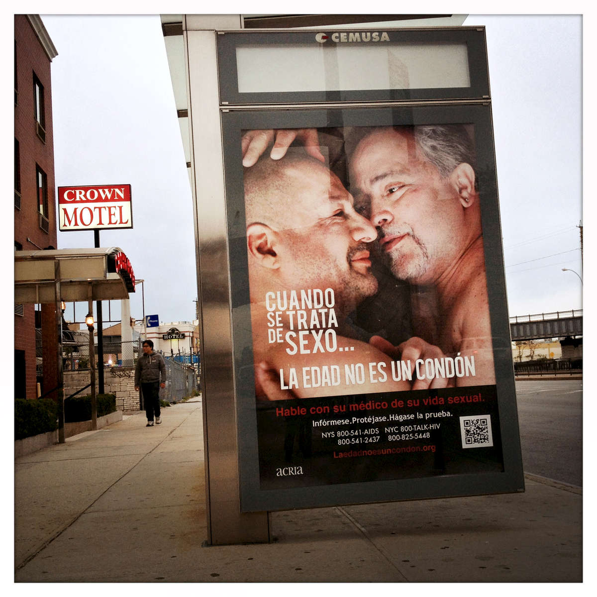 Age Is Not  A Condom - NYC bus shelter campaign 2014.Elmhust, Queens.www.ageisnotacondom.org and www.grayingofaids.org