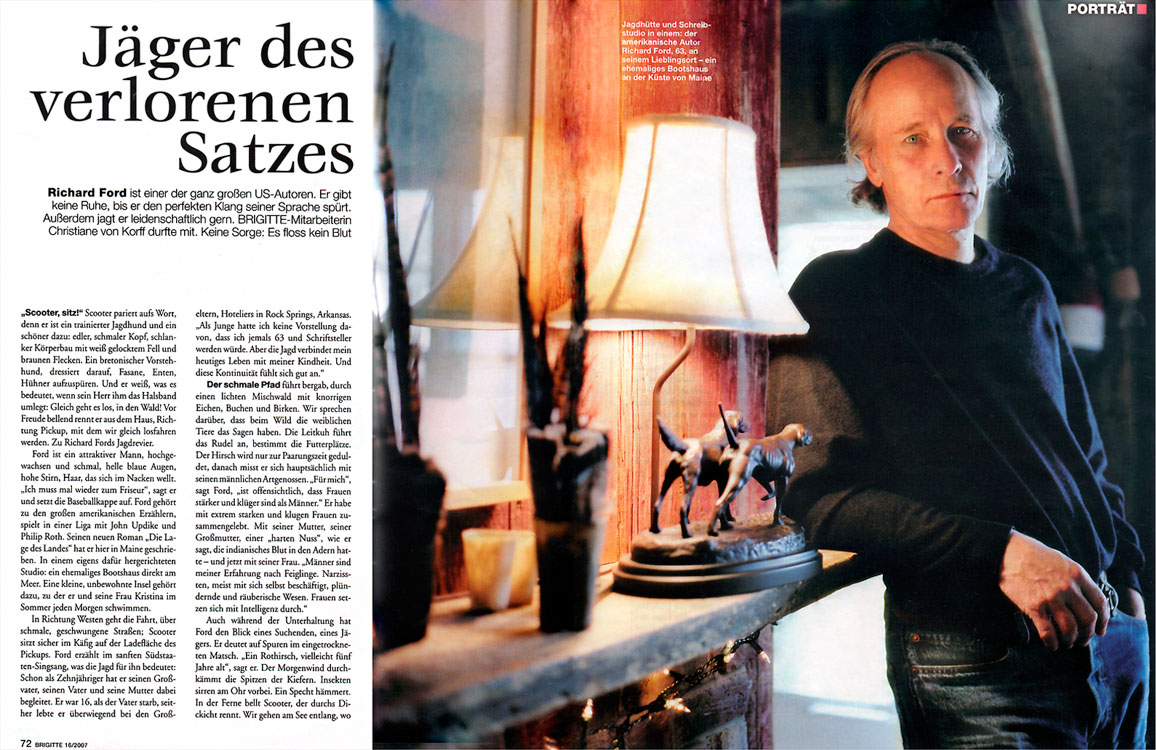 Portrait profile on author Richard Ford, 2007.