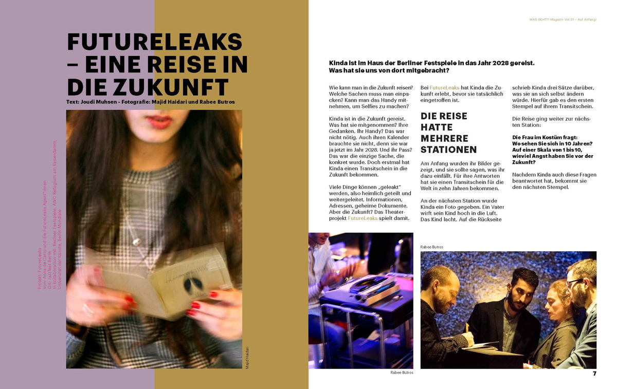 WAS GEHT?! Magazin Vol.01 –Auf Anfang!FutureLeaks –Travels to the future. Spring 2019