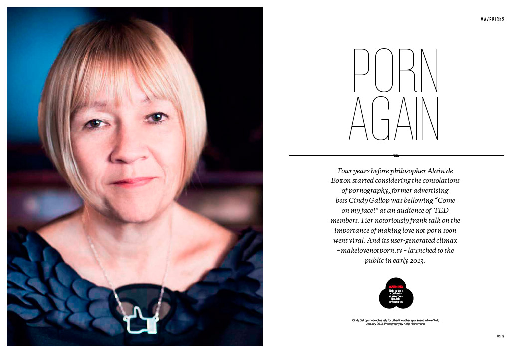 Portrait of Make Love Not Porn online maven Cindy Gallop, 2013.