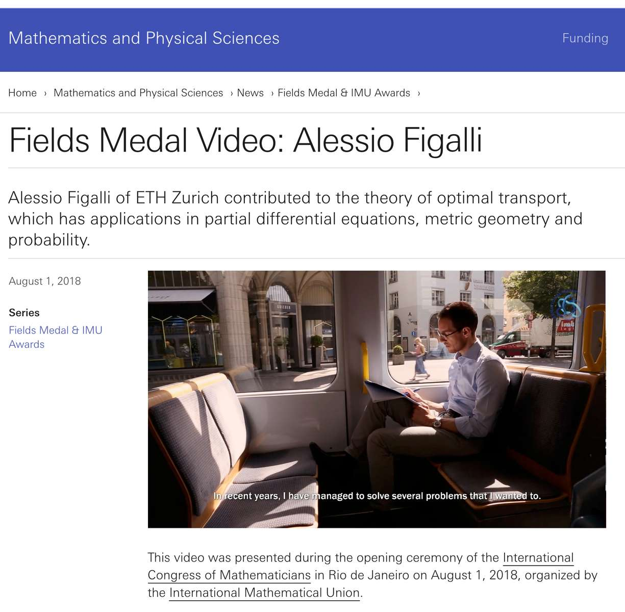 Production of the Zurich portion of the Fields Medal honoree feature video, 2018.