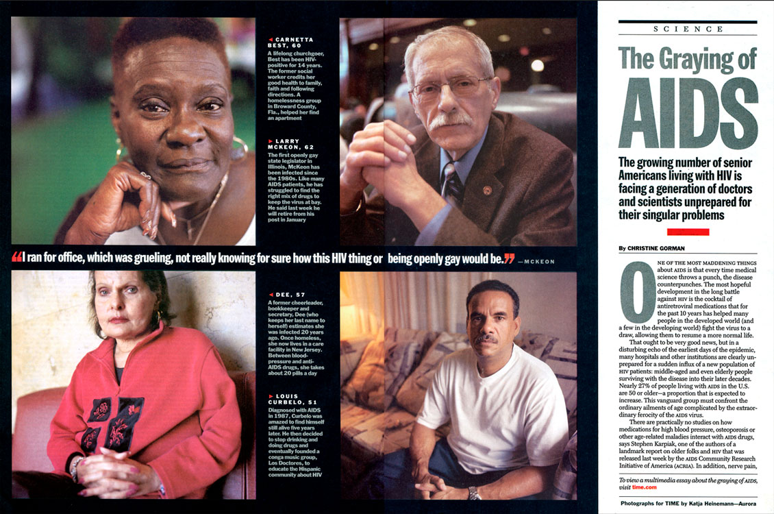 The Graying of AIDS feature story and on-line audio slide show, 2006.