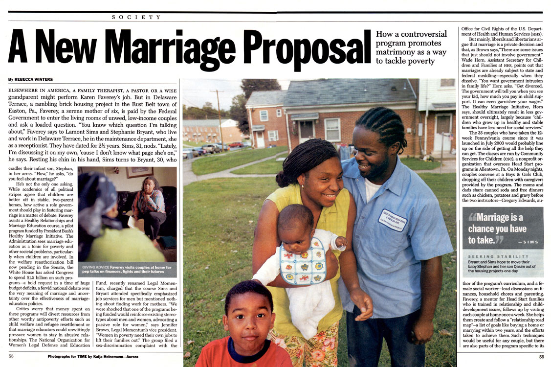Subsidizing marriages as anti-poverty program, 2004.