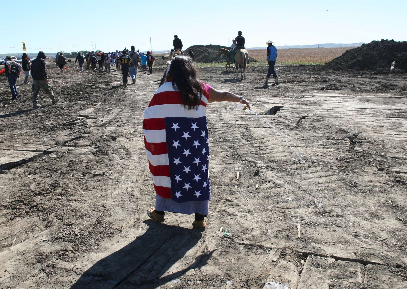Water protector at front line action near Dakota Access pipeline