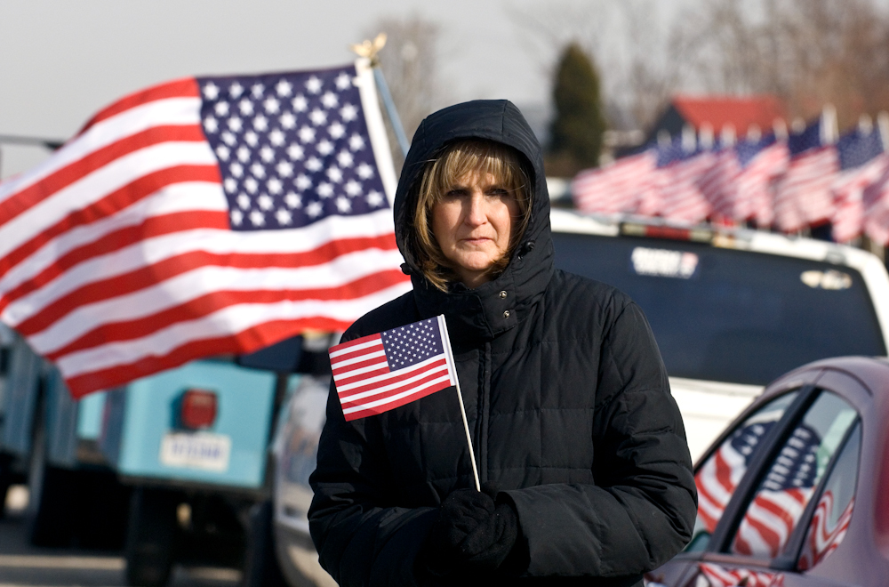 {quote}I just want to pay my respects for what he did for us,{quote} said Dorothy Steen, center, who waits outside Deer Creek Baptist Church in Tell City, Ind., for the funeral procession of Army Sgt. 1st Class Barry Jarvis on Thursday. Jarvis, 36, a member of the 101st Airborne Division in Ft. Campbell, Ky., was one of six soldiers killed on Nov. 29 in Afghanistan.