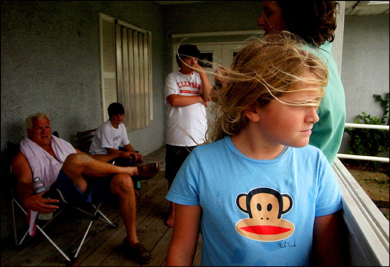 Anna Elliott, 9, anxiously awaits the arrival of Hurricane Frances on Saturday, September 4, 2004.  Anna and her family evacuated the barrier island and stayed inland in Vero Beach.