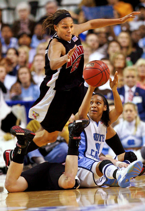Maryland's Marissa Coleman tries to steal control of the ball from North Carolina's Alex Miller in a semi-final match up in  the  ACC Women's Basketball Tournament at the Greensboro Coliseum on Saturday, March 3, 2007.  North Carolina beat Maryland 78-72.