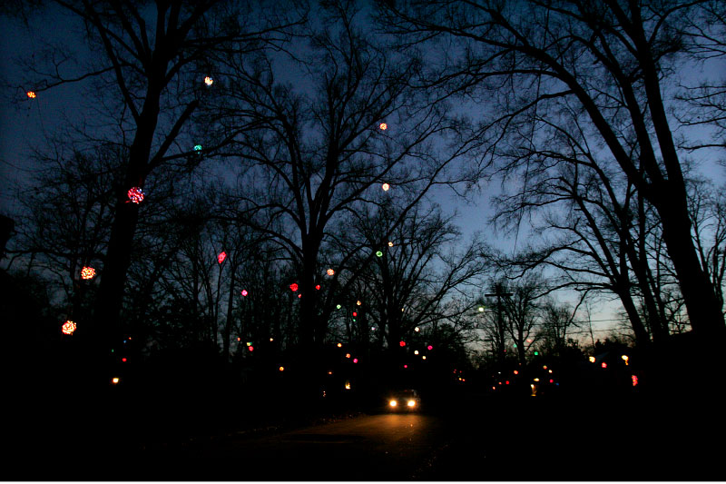 Lighted Christmas balls.  My old 'hood.