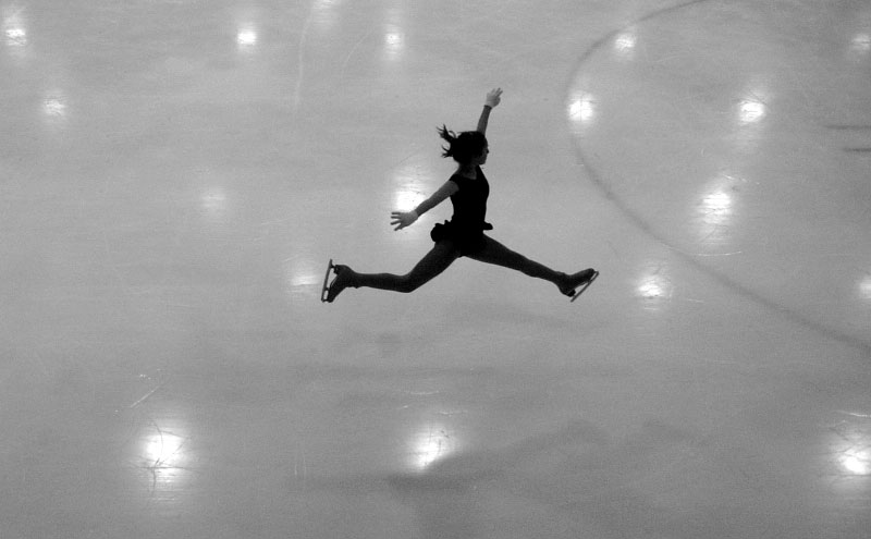 {quote}When you're in the air doing a jump, it's almost like you're weightless.  You feel free,{quote} said Elyssa Bloom, 16, after she practices a jump at the Space Coast Iceplex in Rockledge.  Elyssa has always lived in states with warm climates but has not let that deter her from pursining her sport.  She makes the 40-minute drive from her home in Sebastian to Rockledge several times a week so that she can practice.