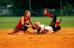 South Fork's, Brittany Giunta, tags Vero Beach's, Lindsey Cook, as she slides into second base in the fifth inning of the Treasure Lake Conference Championship in Vero Beach on Friday.  Vero Beach defeated South Fork 4-2.