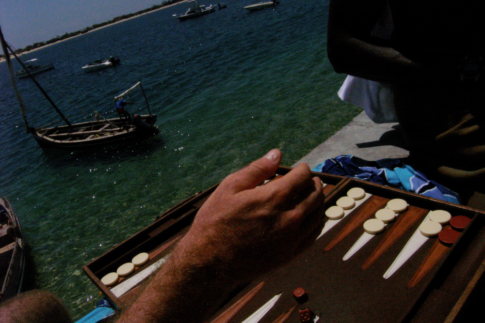 Backgammon at Peponi's, Lamu, March 2006