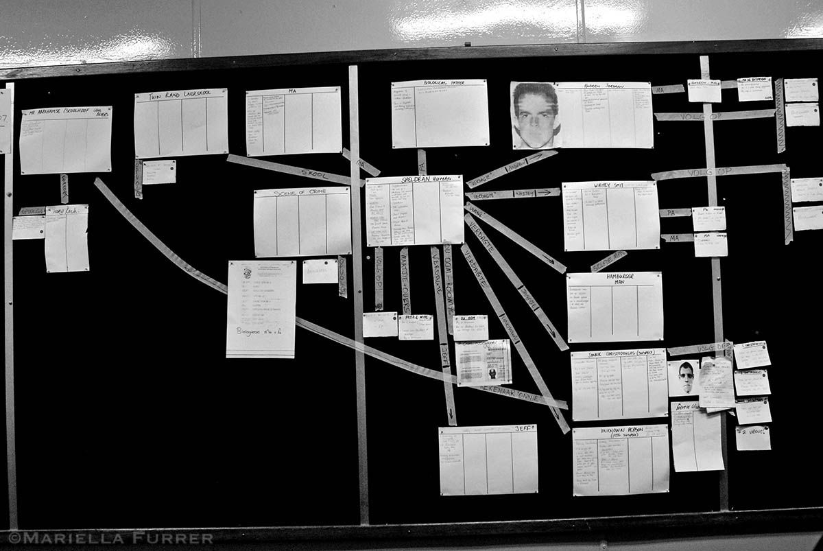 All information relating to the disappearance of Sheldean Human, 7, including several suspects, are pinned on a board in the task team operations room. PLACE: PretoriaDATE: February 2007