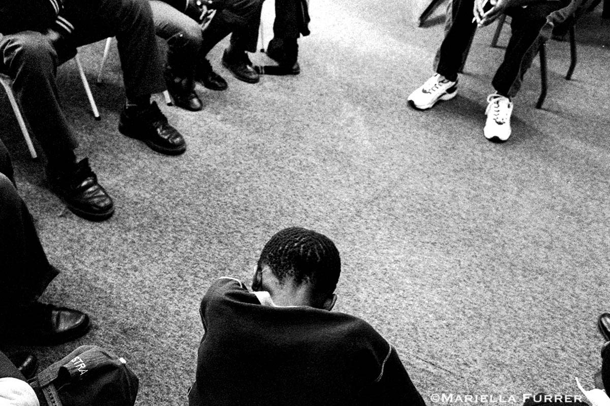 A group of young sex offenders attend a SPARC (Support Program for Abuse Reactive Children) programme at the Teddy Bear Clinic for Abused Children. The 12-week diversion programme is designed to divert young sex offenders from the criminal justice system by teaching them about healthy sexuality, victim empathy, impulse control and personal boundaries. PLACE: JohannesburgDATE: April 2003