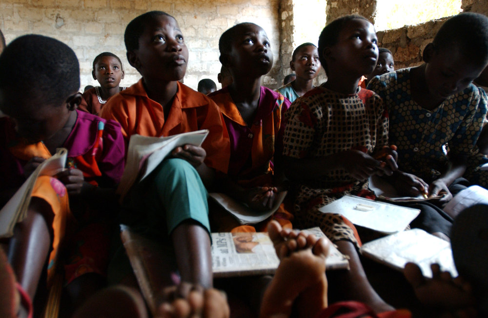 Standard one students attend a morning class at the Gahaleni Primary School.
