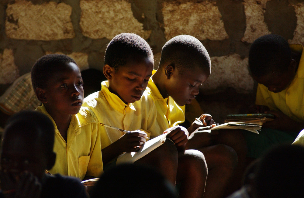 Young students attend class (standard 2) at the Kadzuhoni Primary School.
