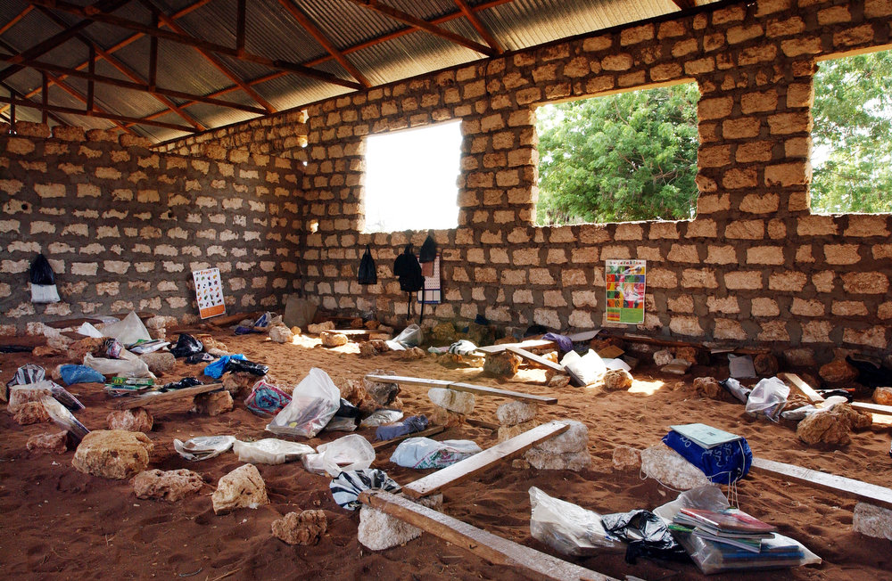 Classroom of the standard two pupils during breaktime at the Kadzuhoni Primary School. No desks or chairs are available for the classroom so children sit on make shift benches, rocks or in the sand. The majority of school chidlren use a plastic shopping bag as their school bag.