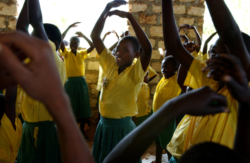 Standard two students at the Kadzuhoni Primary School sing and dance during one of their lessons.