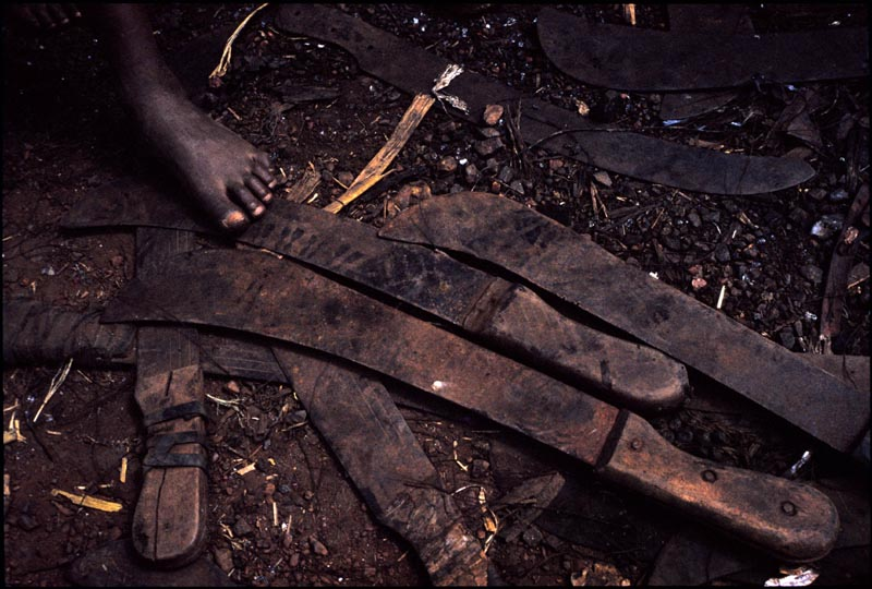 Pile of machetes confiscated from Rwandan refugees when they fled across the border to Zaire. July 1994