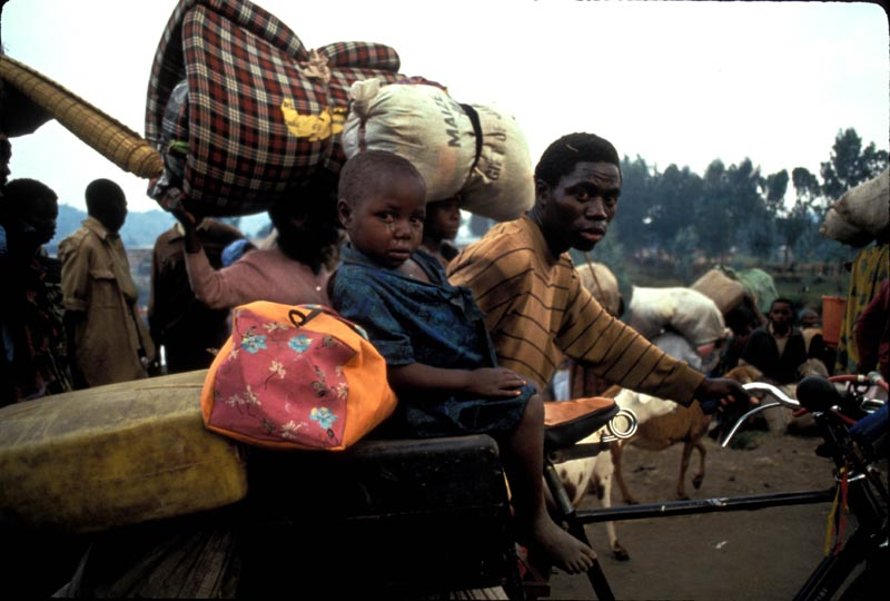 Over a million people, mostly Hutus, flee Rwanda into Goma, the  border town in Zaire, now known as the Democratic Republic of Congo. June 1994