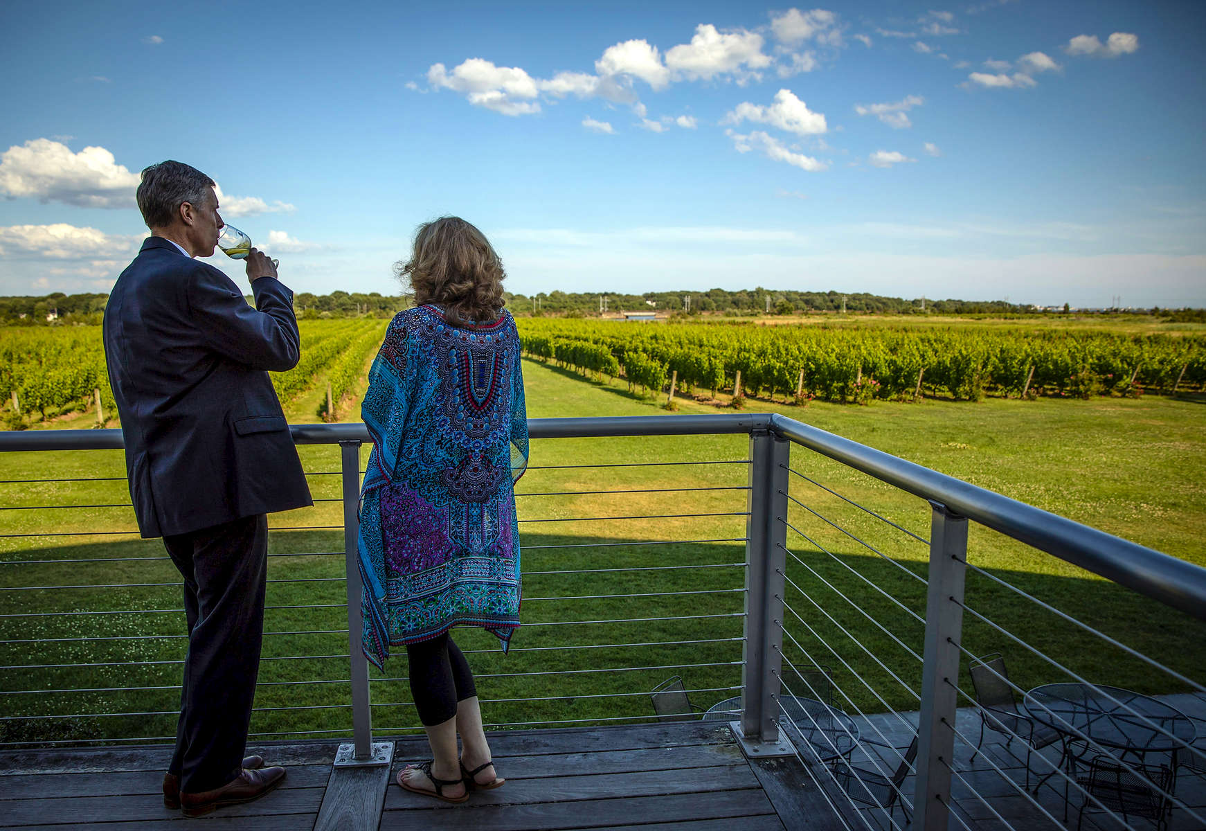 Jeffrey and Catherine Buebendorf during a UConn School of Law Alumni event at Saltwater Farm Vineyard Wednesday, July 18, 2018 in Stonington.