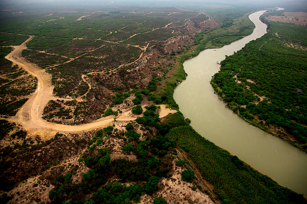 Development at the southern edge of the Eagle Ford Shale can be seen at left, with the Rio Grande River separating the United States from Mexico (right) in this aerial image shot Wednesday, May 7, 2014.