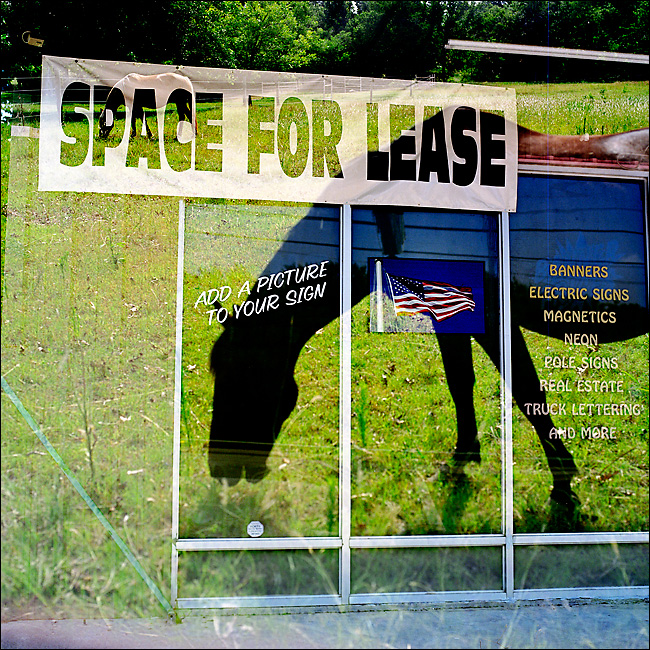 Multiple exposures made from two different scenes. #1 - Space for lease at a strip mall in Grand Prairie, taken June 23, 2010. #2 - Horses graze on a ranch in Van Alstyne, taken on June 24, 2010.