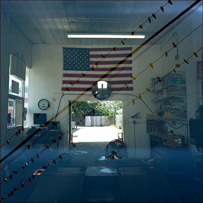 Multiple exposures made from two different scenes. #1 - Flag at car mechanic in Duncanville, taken on June 22, 2010. #2 - Birds on a wire in Dallas taken on June 23, 2010.