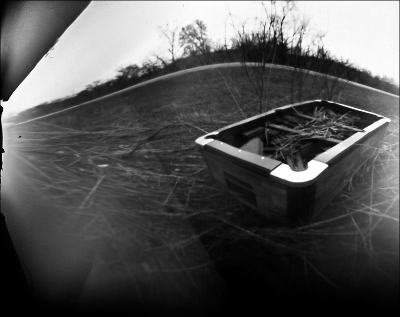 Pool table in abandoned field in southwest Dallas County, Texas, taken with a soda bottle camera. Seven minute, 45 second exposure on RC photo paper.