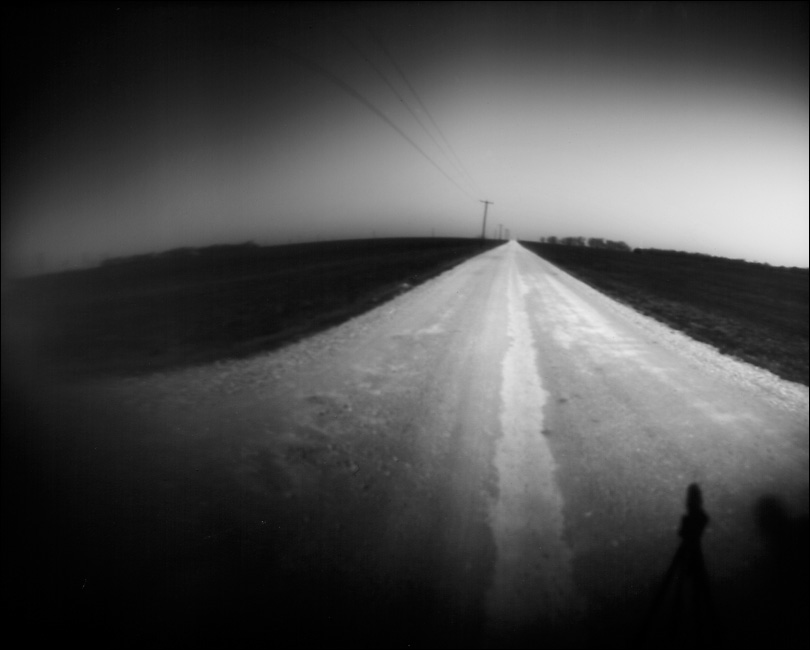 Collin County Road 421 in Anna, Texas taken on March 18, 2009 with tin can camera. One minute, 30 second exposure on RC photo paper.