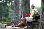 Cyclist Conrad Kiffin rides near his home in Ballantyne, North Carolina.