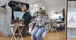 Red Bank, NJ artist, Evelyn Leavens, in her home studio at 5 Allston Court.