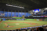 Major league baseball game at Marlins Park in Miami, Florida.