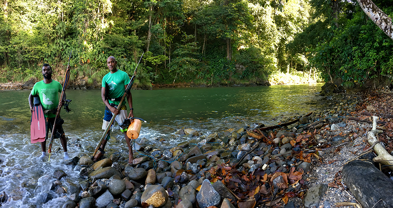 Spearfishermen, Shark River, Trinidad & Tobago