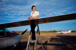 Responsible for her plane's mainte- nance, Sarah carries out systematic checks before and after every flight.