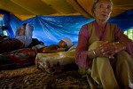 August 2007. (From right to left) Tsering Norzom, 67, Nyima Tsering, 31, and Jamyang Yeshi, 33,  have been in hunger strike with 11 other Tibetans for 28 days to denounce China's position towards Tibetan people a year before the opening of the Olympic Games of Beijing. 