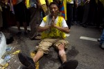 August 8, 2007. Here: Young tibetan who tried to set himself on fire fews minute before in the middle of the demonstration.This demonstration took place in Delhi, one year before the opening of the Olympic Games of Beijing (08.08.08). This demonstration was organized by ' The Regional Tibetan Young Congress' and  gathered nearly 15,000 Tibetans from all India but also from Nepal and Bhutan. They denounce the occupation of Tibet by China and the abuses on the Tibetan population concerning the humans right and the religious practices. 