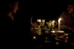 Candles at night. There is no electricity except in the common rooms such as the kitchen or the meditation room. 