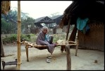 Sicampure, Western Assam. Santhal camps opened by the government in 1996. Old woman by her shelter.