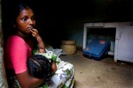 19.07.06. Shyampetaveli, Warangal, . Vijaya, 22, and her husband Avalu, 28, cultivated cotton Bt on their 5 acres of land. Due to unbearable debts and recent bad harvests, Avalu committed suicide by swallowing pesticide in 2005. Vijaya remains alone with her two daughters, Venalla, 5, and Navyer, 2. In order to provide for her family, she works in the fields where she earns 100 rupees a day in paddy fields (rice) or 25 rupees in cotton fields. She owes the bank 1 lackh rupees. She wants to keep her land for her daughters dowries. In the countryside, a widow with two children cannot remarry because the men refuse to support the children from a previous marriage.