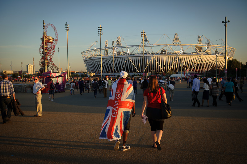 The Olympic stadium at sunset.