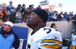 Nashville, TN. Pittsburgh Steelers linebacker Joey Porter is about to be introduced to the hostile crowd at Adelphia Coliseum against the Tennessee Titans near the start of a divisional round playoff game in 2002. / Vincent Pugliese
