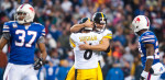 Orchard Park, N.Y.      Steelers kicker Shaun Suisham (6) is congratulated by Dan Sepulveda after Suisham nailed a 41-yard field goal late in overtime to secure a 19-16 Steelers victory over the Buffalo Bills at Ralph Wilson Stadium./ Vincent Pugliese