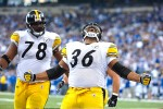 indianapolis, Indiana.   Pittsburgh Steelers running back Jerome Bettis screams after scoring a touchdown to gives the Steelers a 21-3 lead over the Indianapolis Colts during their playoff game in 2006. It would be the second to last touchdown of Bettis's career, which would end with a Super Bowl victory in his hometown of Detroit, Michigan./ Vincent Pugliese