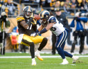 Pittsburgh, PA.     Pittsburgh Steelers receiver Mike Wallace catches a 46-yard pass against St. Louis Rams cornerback Josh Gordy during the fourth quarter at Heinz Field in Pittsburgh, PA. / Vincent Pugliese