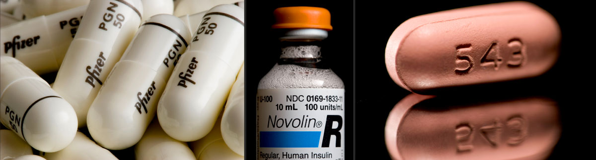 Pfizer pain medication Lyrica (left), Novo Nordisk's Novolin insulin (center), and Zocor generic Simvastatin.