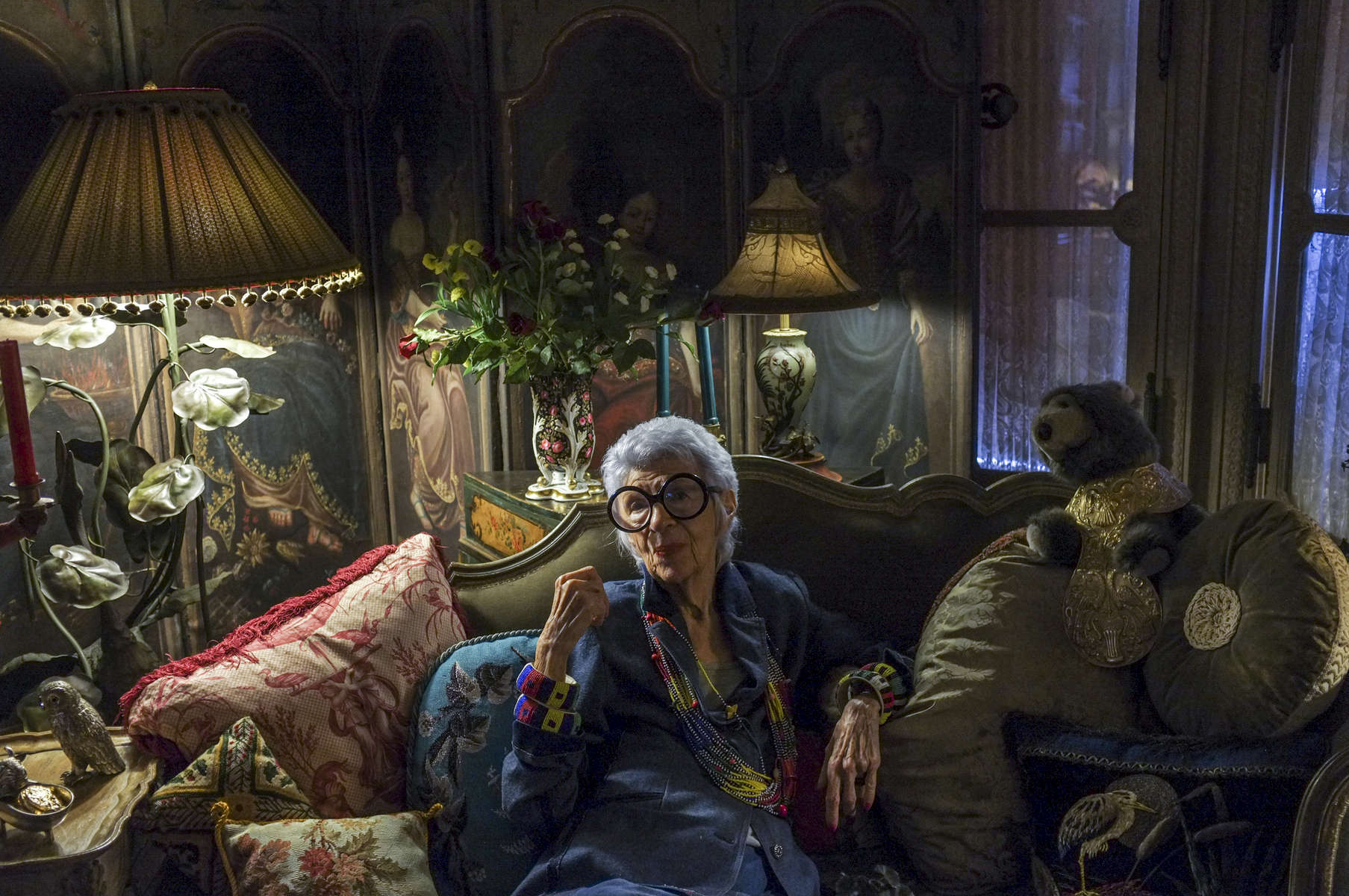 USA.  New York.  2012.  The fashion designer and icon Iris Apfel photographed at her Upper East Side Manhattan home.