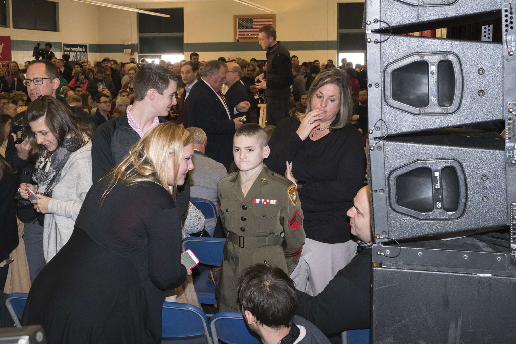 2016.  Londonderry, NH.  USA.  A young Marine cadet at a Marco Rubio rally. Donald Trump ultimately won the Republican primary and Bernie Sanders won the Democratic.