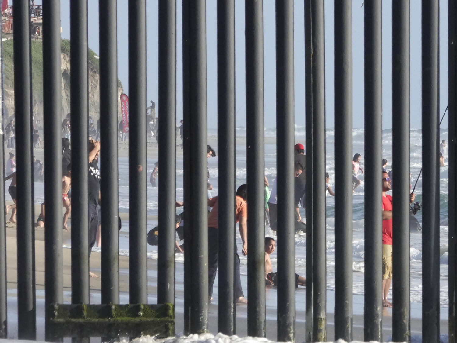 2019. San Diego, California. USA.  The Tijuana beach seen through the border wall built by the United States to prevent illegal immigration.