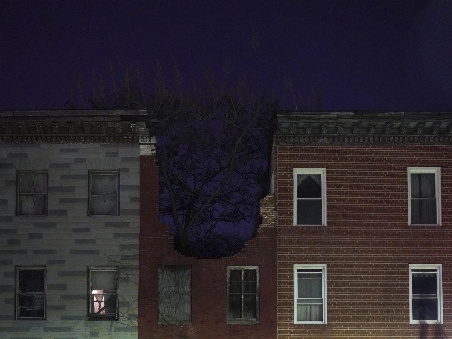 2019. Baltimore, Maryland. USA. Scenes of decaying parts of Baltimore.  The city is well below peak population levels and vacant blocks and boarded up houses abound.