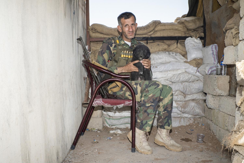 2015.  Baqofa.  Iraq. Checkpoint of a Dwekh Nawsha Assyrian Christian militia unit near the frontline against ISIS.